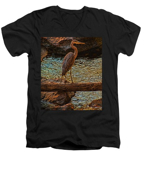 Men's V-Neck T-Shirt featuring the photograph Big Falls Blue Heron by Trey Foerster