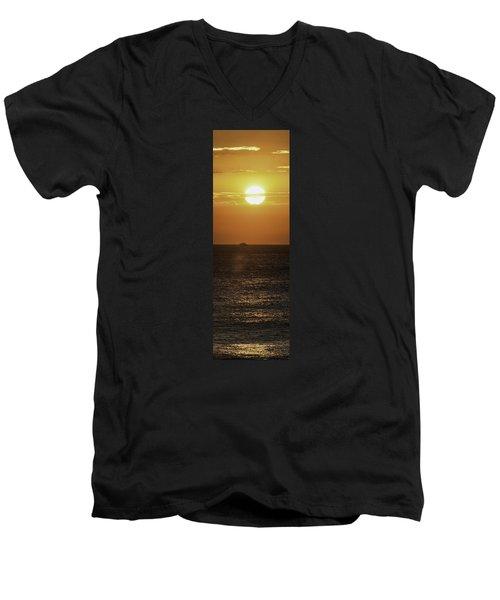 Big Ocean Small Boat Men's V-Neck T-Shirt by Jim Moore