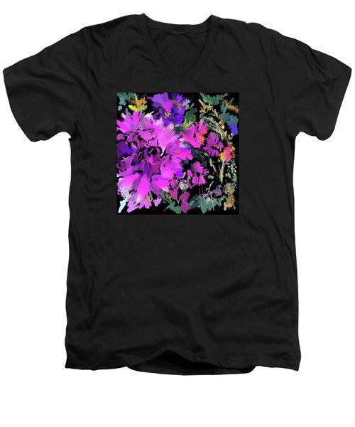 Big Pink Flower Men's V-Neck T-Shirt by DC Langer