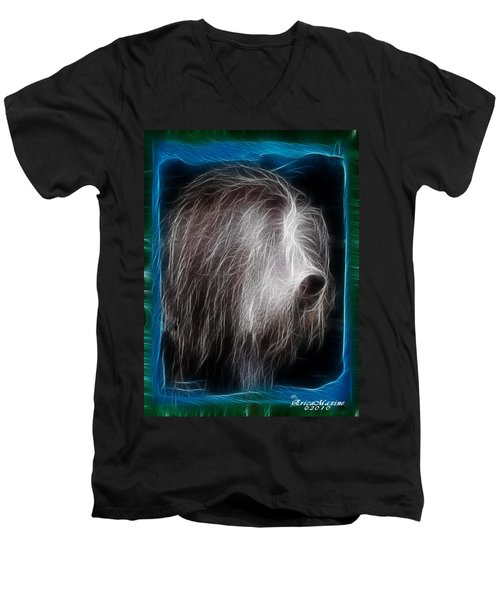Men's V-Neck T-Shirt featuring the photograph Big Shaggy Dog by EricaMaxine  Price