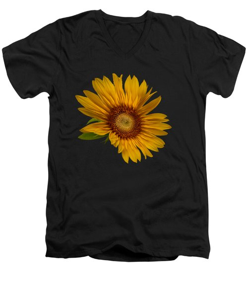 Big Sunflower Men's V-Neck T-Shirt by Debra and Dave Vanderlaan