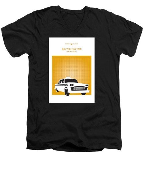 Men's V-Neck T-Shirt featuring the drawing Big Yellow Taxi -- Joni Michel by David Davies