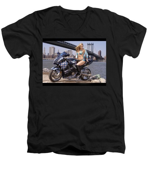Bike, Babe, And Bridge In The Big Apple Men's V-Neck T-Shirt