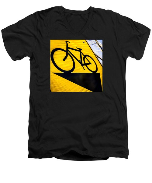 Men's V-Neck T-Shirt featuring the photograph Bike Sign by Wade Brooks