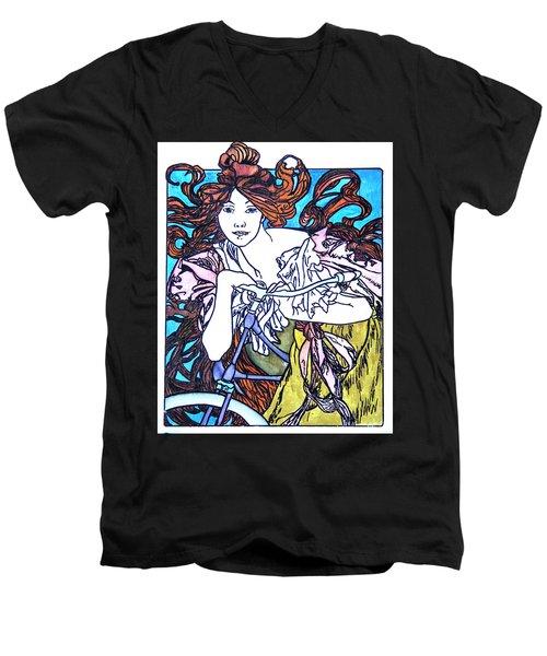 Biker Girl Men's V-Neck T-Shirt