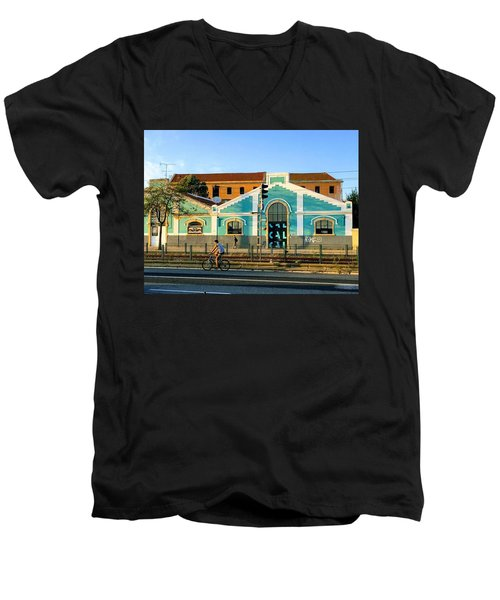 Biking In Lisboa Men's V-Neck T-Shirt