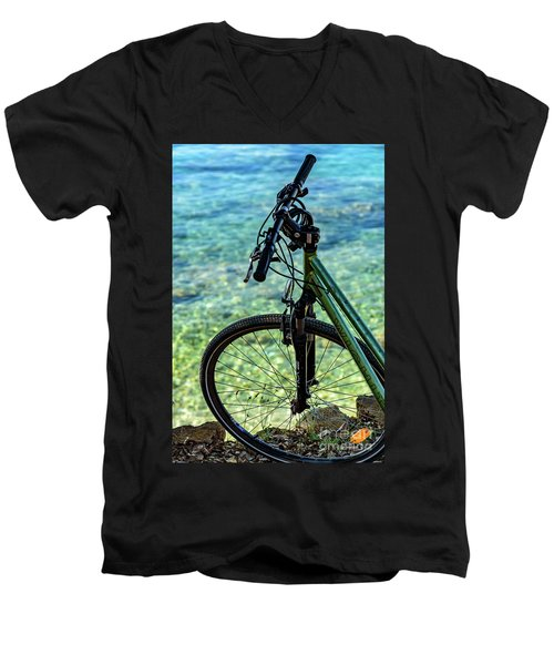 Biking The Rovinj Coastline - Rovinj, Istria, Croatia Men's V-Neck T-Shirt