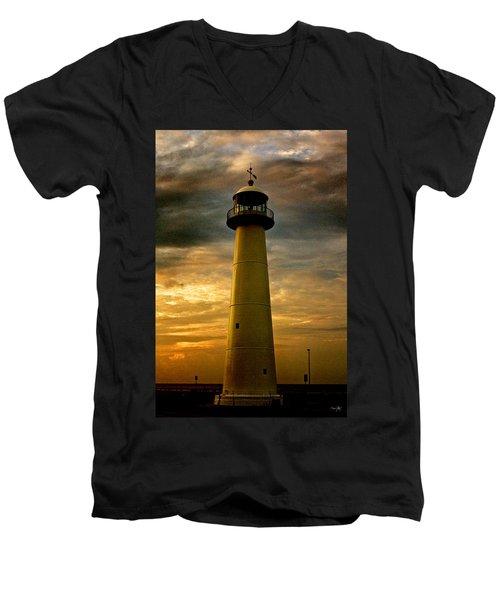 Biloxi Lighthouse Men's V-Neck T-Shirt by Scott Pellegrin