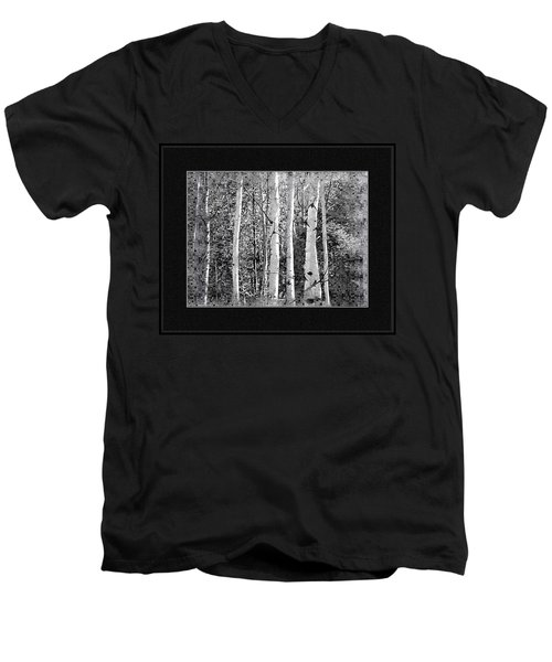 Men's V-Neck T-Shirt featuring the photograph Birch Trees by Susan Kinney