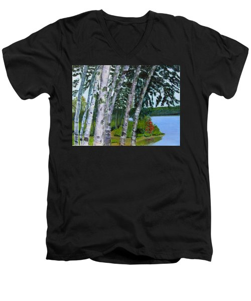 Birches At First Connecticut Lake Men's V-Neck T-Shirt