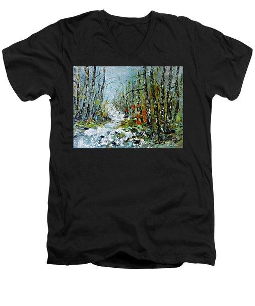 Birches Near Waterfall Men's V-Neck T-Shirt by AmaS Art