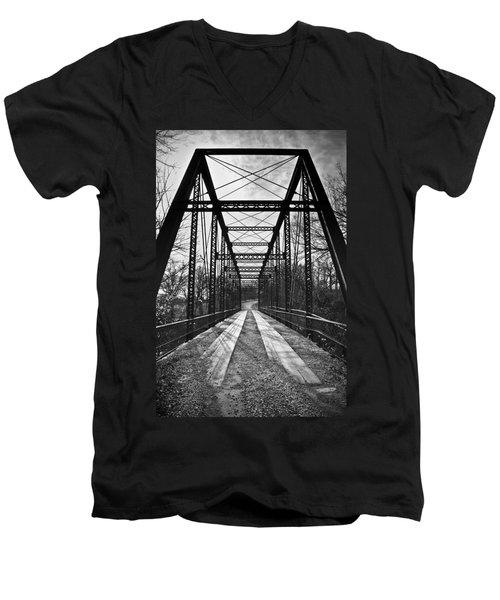 Bird Bridge Black And White Men's V-Neck T-Shirt
