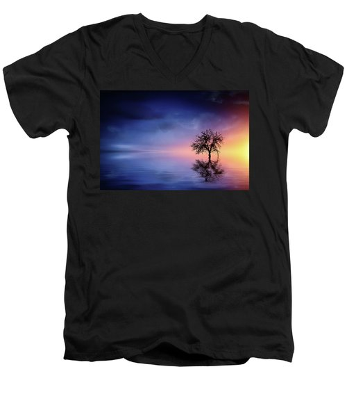 Birds In The Trees, Some Are Fleeing Men's V-Neck T-Shirt by Bess Hamiti
