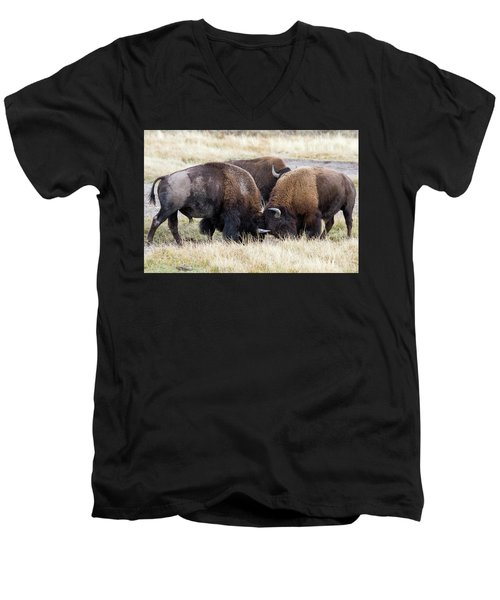 Men's V-Neck T-Shirt featuring the photograph Bison Fight by Wesley Aston