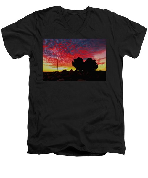 Men's V-Neck T-Shirt featuring the photograph Bison Sunset by Larry Trupp