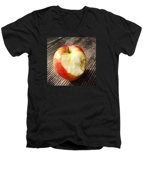 Bitten Red Apple Men's V-Neck T-Shirt by Matthias Hauser