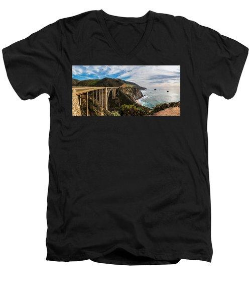 Bixby Creek Bridge Big Sur California  Men's V-Neck T-Shirt by John McGraw