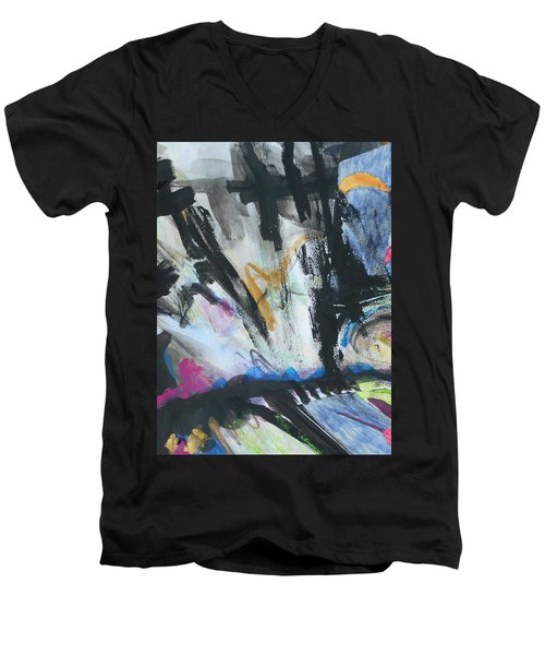 Black Abstract Men's V-Neck T-Shirt