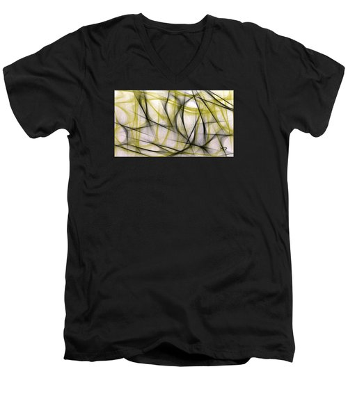 Black And Green Abstract Men's V-Neck T-Shirt
