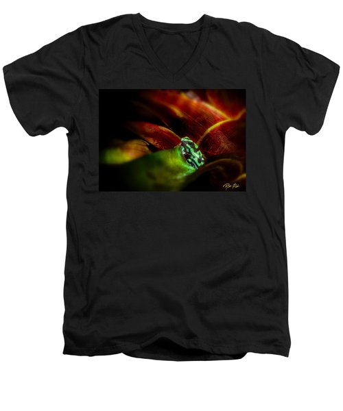 Men's V-Neck T-Shirt featuring the photograph Black And Green Dart Frog In The Red Bromeliad by Rikk Flohr
