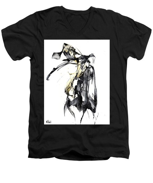 Black And White Abstract Expressionism Series 7344.072009 Men's V-Neck T-Shirt
