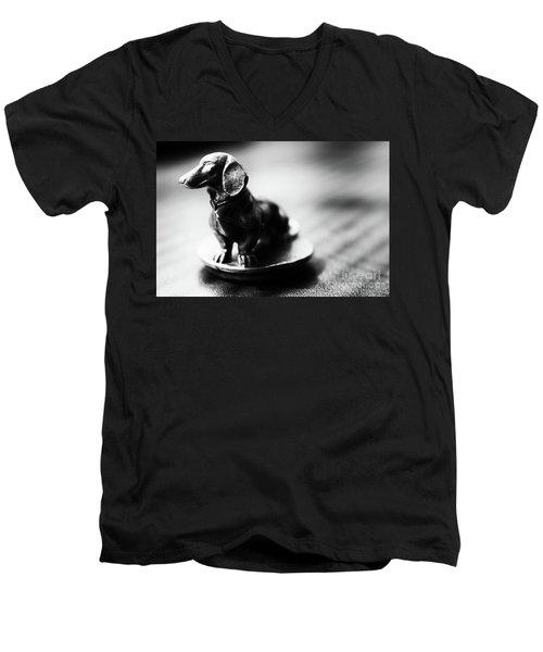 Black And White Brass Dachshund Men's V-Neck T-Shirt