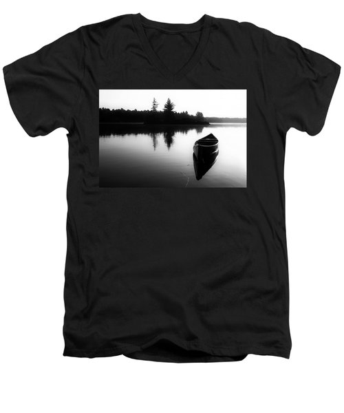 Black And White Canoe In Still Water Men's V-Neck T-Shirt