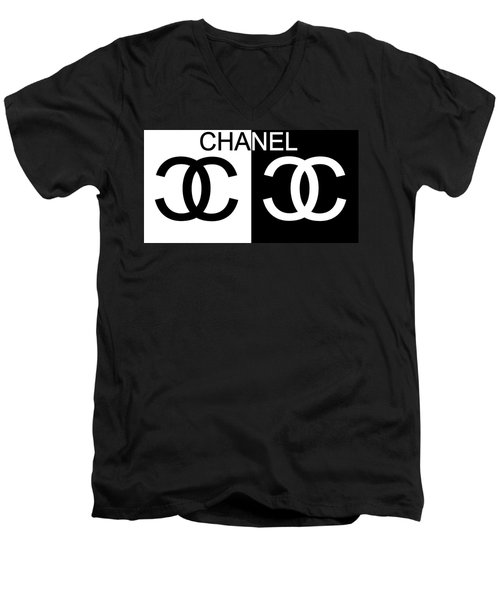 Black And White Chanel Men's V-Neck T-Shirt