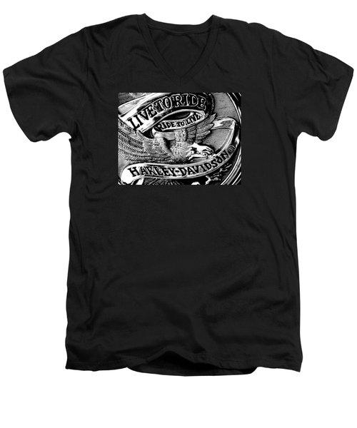 Black And White Emblem Men's V-Neck T-Shirt by Chris Berry