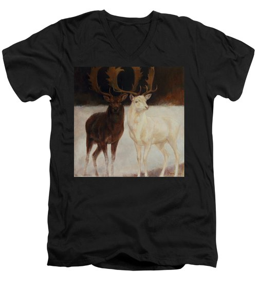 Black And White Fallow Deers Men's V-Neck T-Shirt