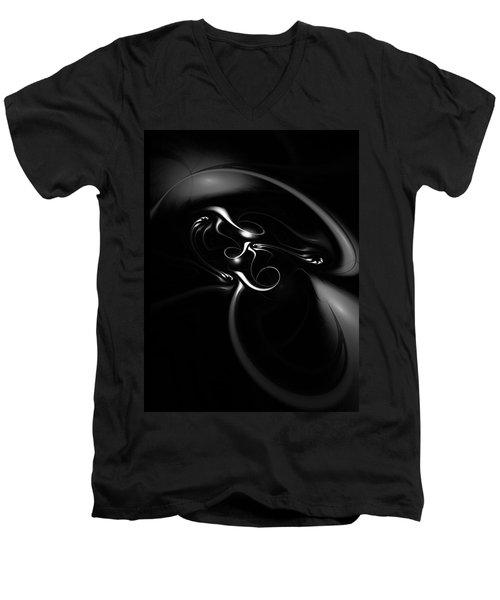 Black And White Fractal 080810b Men's V-Neck T-Shirt