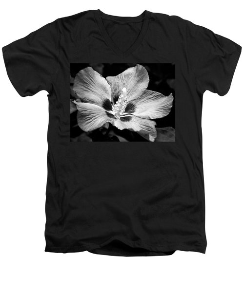 Men's V-Neck T-Shirt featuring the photograph Black And White Hibiscus  by Karen Stahlros