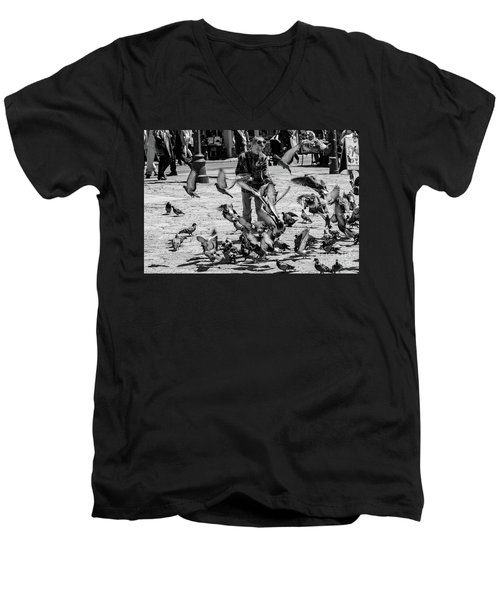 Black And White Of Boy Feeding Pigeons In Sarajevo, Bosnia And Herzegovina  Men's V-Neck T-Shirt