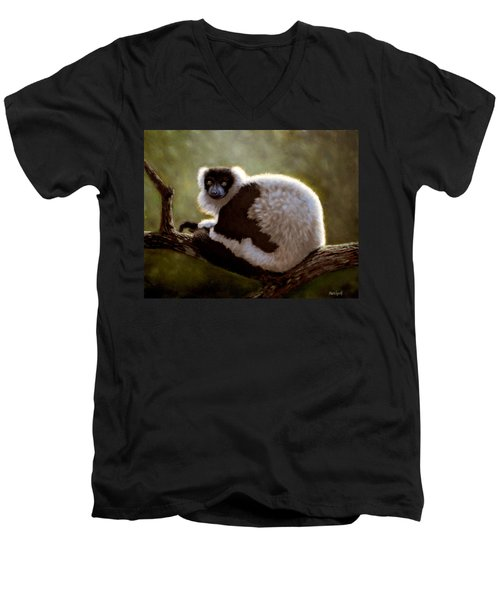 Black And White Ruffed Lemur Men's V-Neck T-Shirt