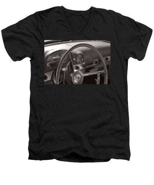 Black And White Thunderbird Steering Wheel  Men's V-Neck T-Shirt by Heather Kirk