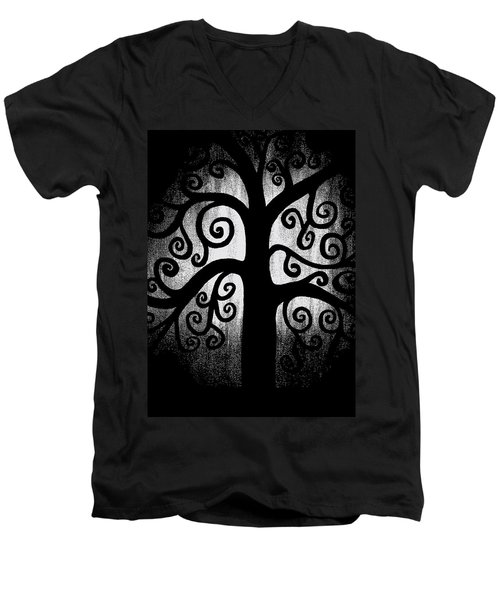 Black And White Tree Men's V-Neck T-Shirt