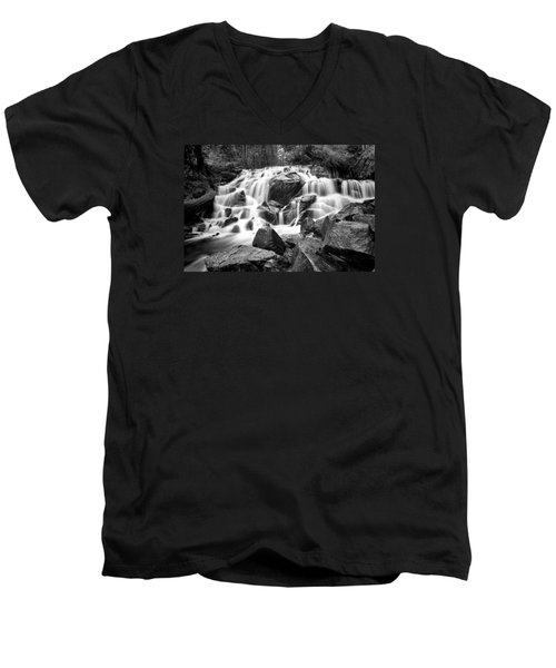 Black And White Waterfall In Lee Vining Canyon Men's V-Neck T-Shirt