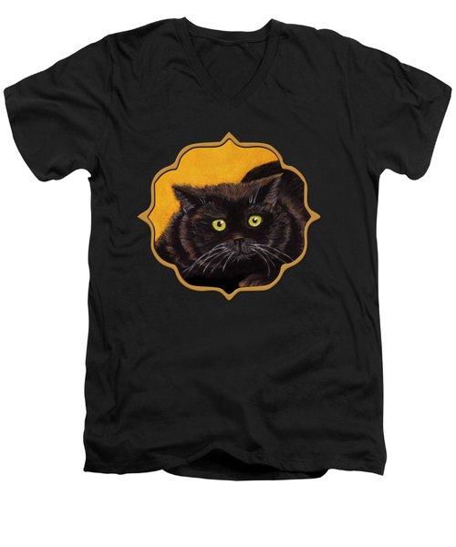 Black Cat Men's V-Neck T-Shirt by Anastasiya Malakhova