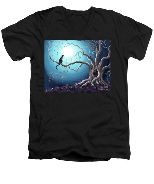 Black Cat In A Haunted Tree Men's V-Neck T-Shirt by Laura Iverson