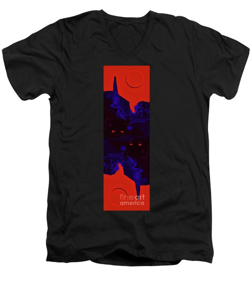 Black Cat Under A Blood Red Moon Men's V-Neck T-Shirt