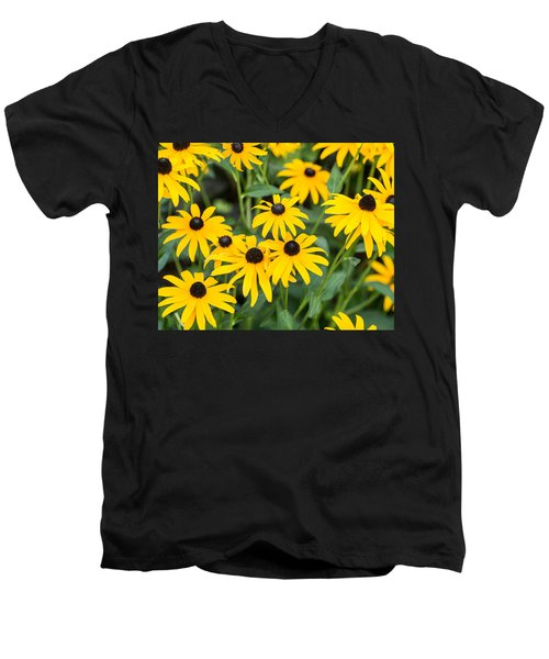 Black-eyed Susan Up Close Men's V-Neck T-Shirt by E Faithe Lester