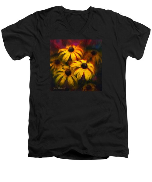 Men's V-Neck T-Shirt featuring the painting Black Eyed Susans - Vibrant Flowers by Karen Whitworth