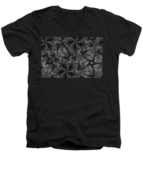 Men's V-Neck T-Shirt featuring the photograph Black Granite Kaleido 3 by Peter J Sucy