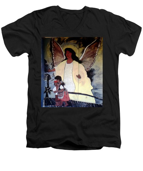 Black Guardian Angel Mural Men's V-Neck T-Shirt