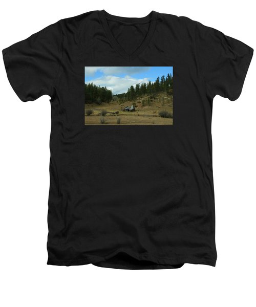 Black Hills Broken Down Cabin Men's V-Neck T-Shirt