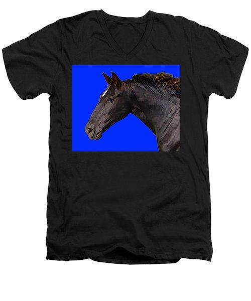 Black Horse Spirit Blue Men's V-Neck T-Shirt
