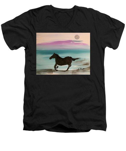 Black Horse With Moon Men's V-Neck T-Shirt