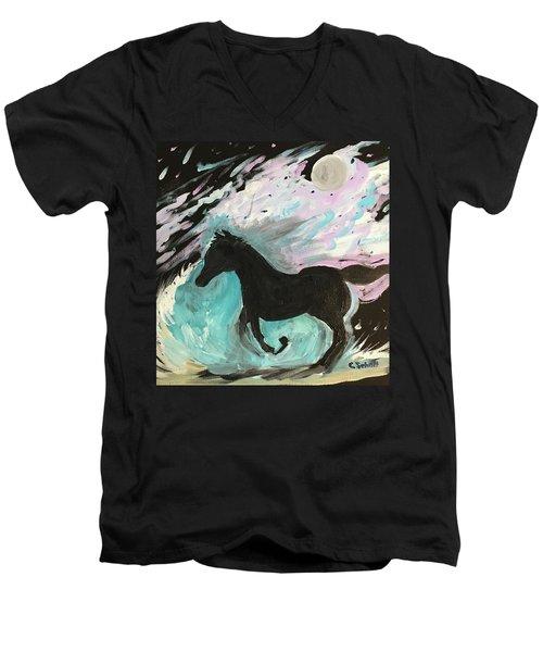 Black Horse With Wave Men's V-Neck T-Shirt