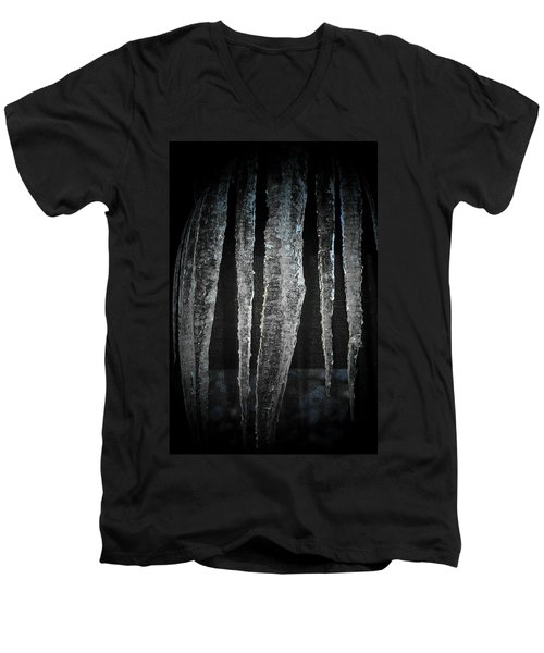 Men's V-Neck T-Shirt featuring the digital art Black Ice by Barbara S Nickerson