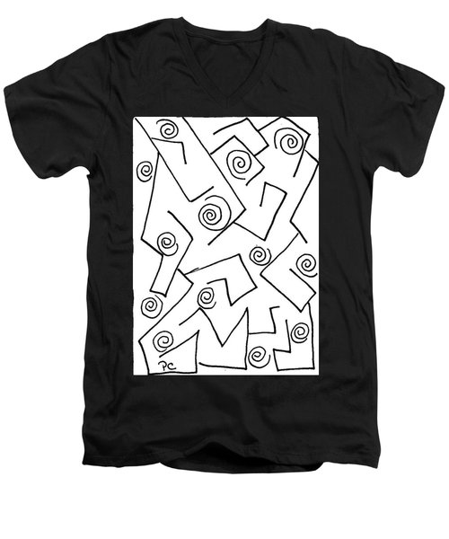 Black Ink Abstract Men's V-Neck T-Shirt by Patricia Cleasby